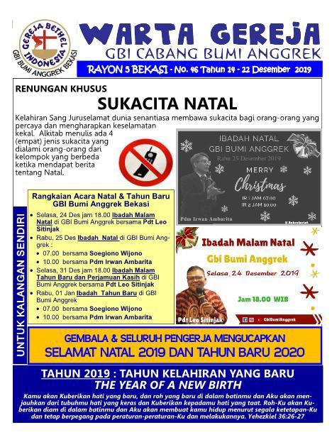 Warta Gereja Minggu 22 Desember 2019