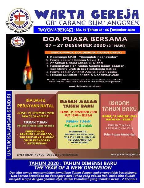 Warta Gereja Minggu 06 Desember 2020