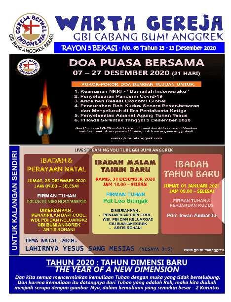 Warta Gereja Minggu 13 Desember 2020