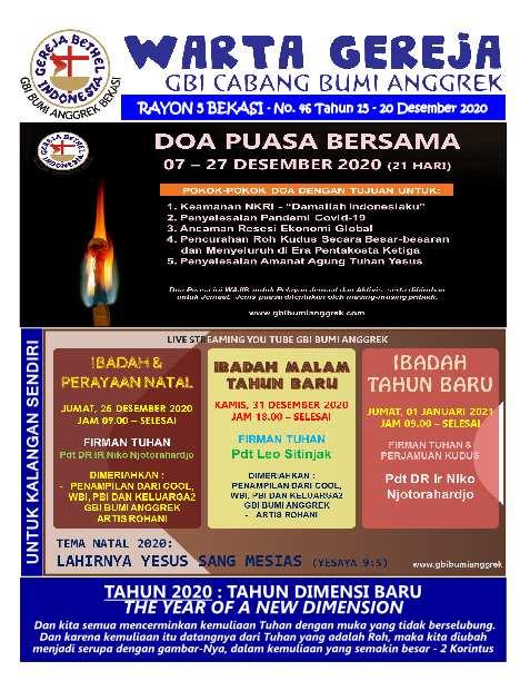 Warta Gereja Minggu 20 Desember 2020