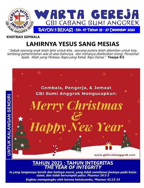 Warta Gereja Minggu 27 Desember 2020